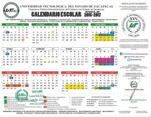 Calendario escolar 2016-2017 Modalidad intensiva